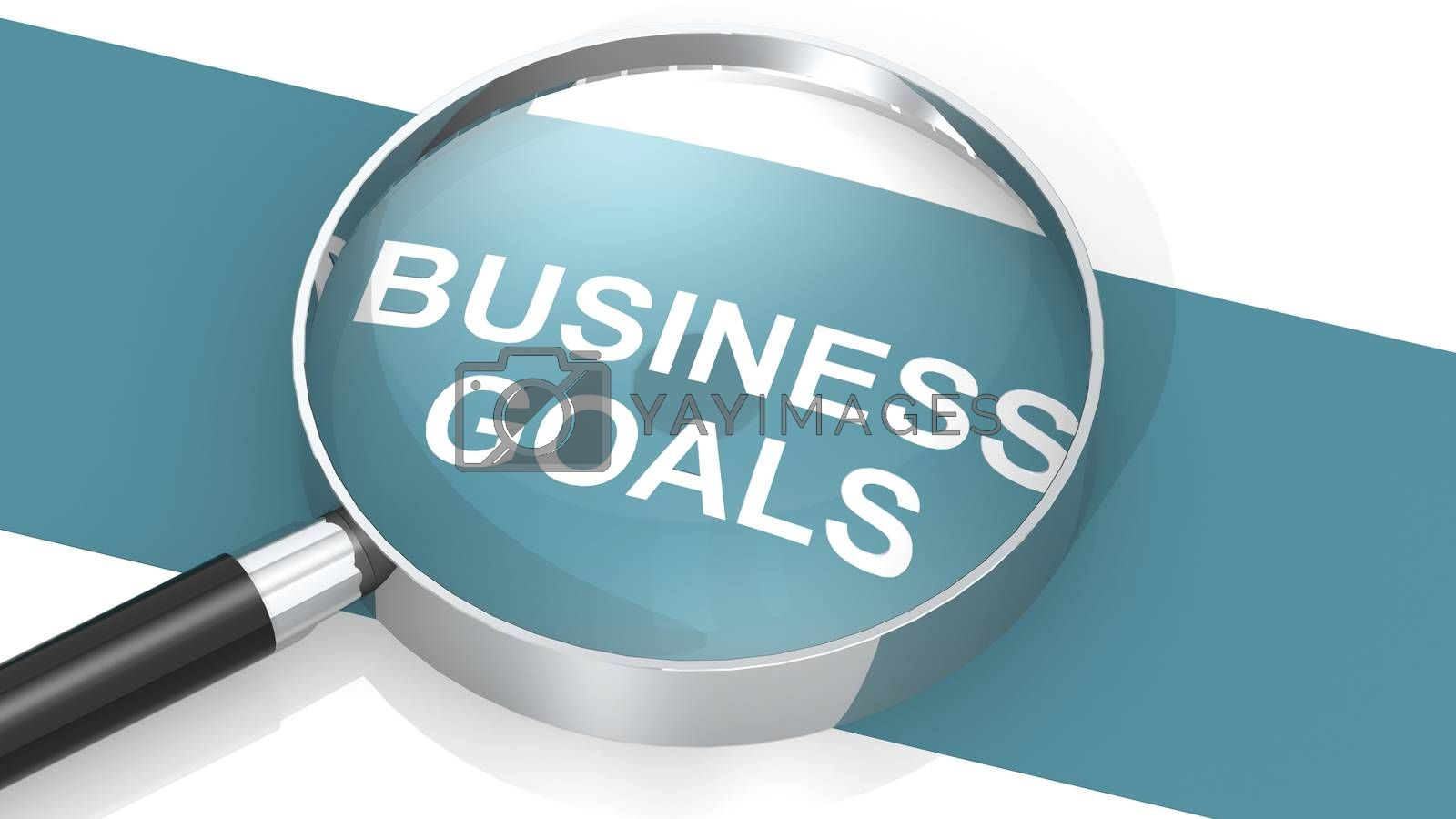 Magnifying glass with business goals word, 3d rendering