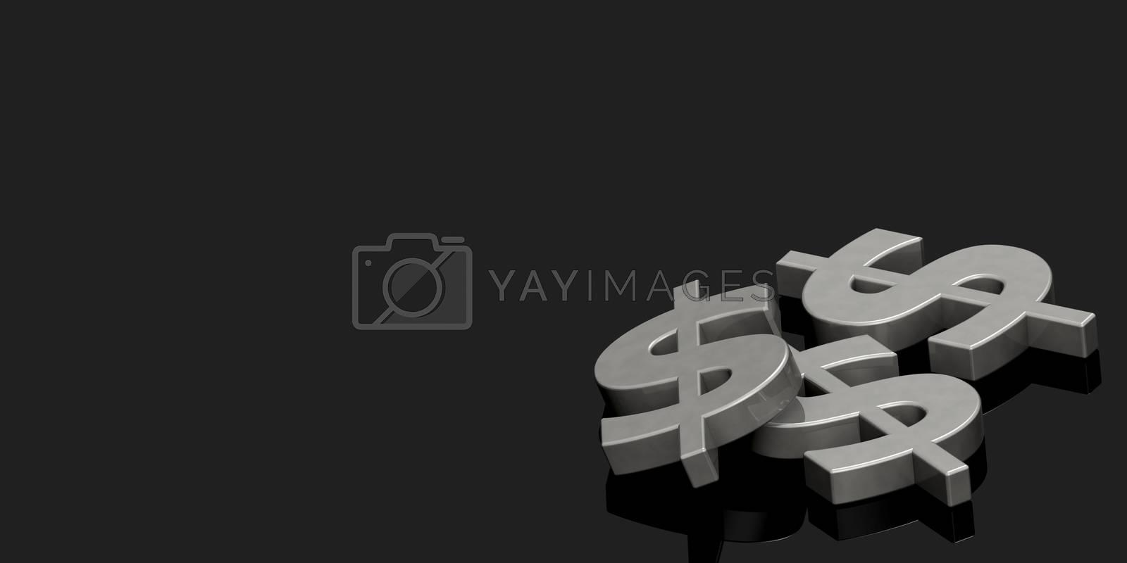 Metallic dollar sign, financial concept, 3D rendering