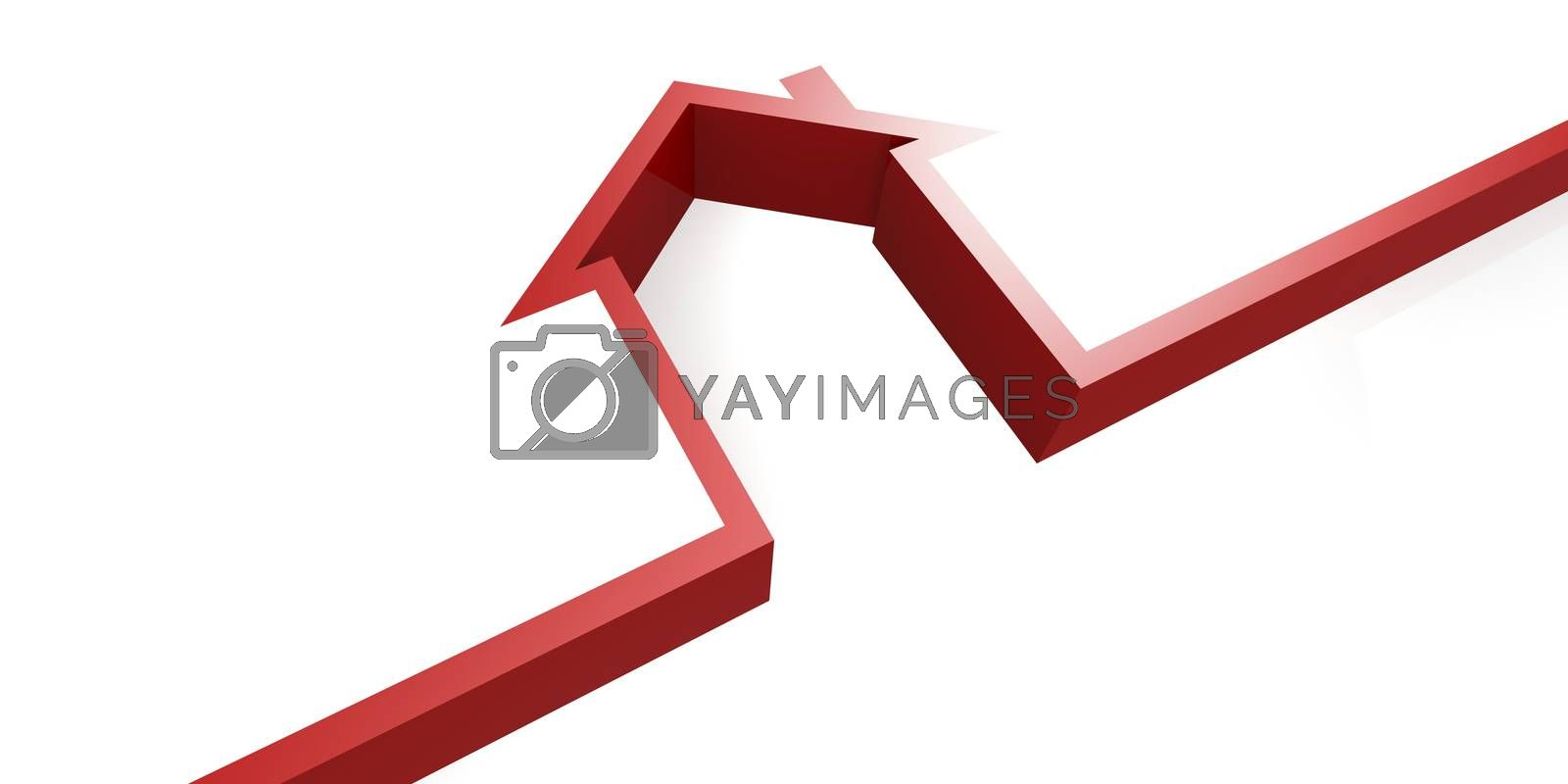 Red house symbol isolated on white background, 3D rendering