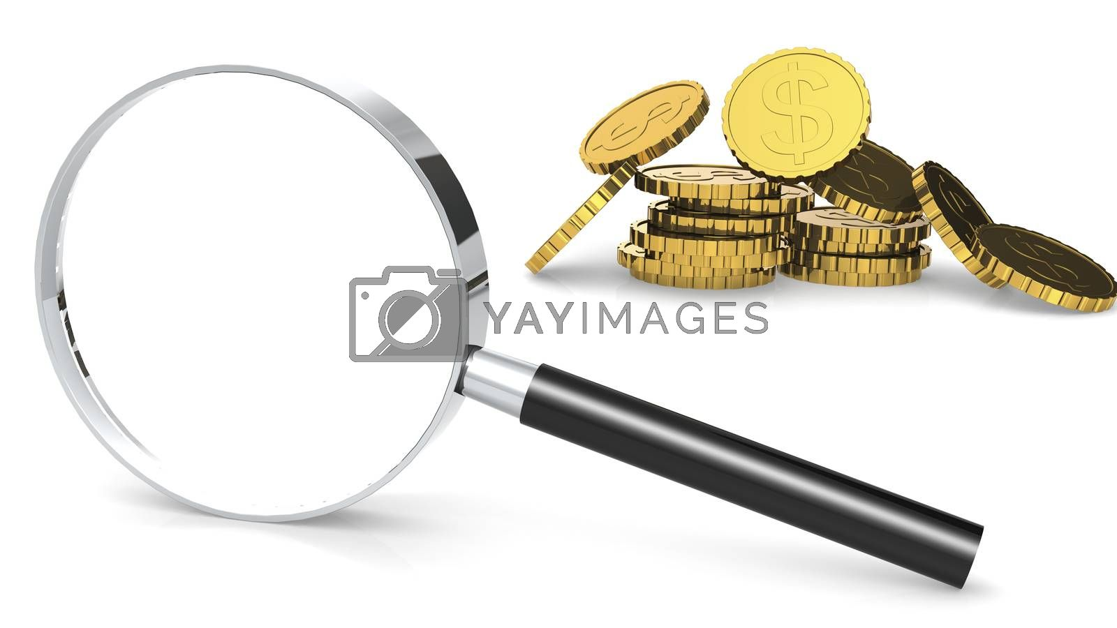 Stack of gold coins and magnifying glass, 3d rendering