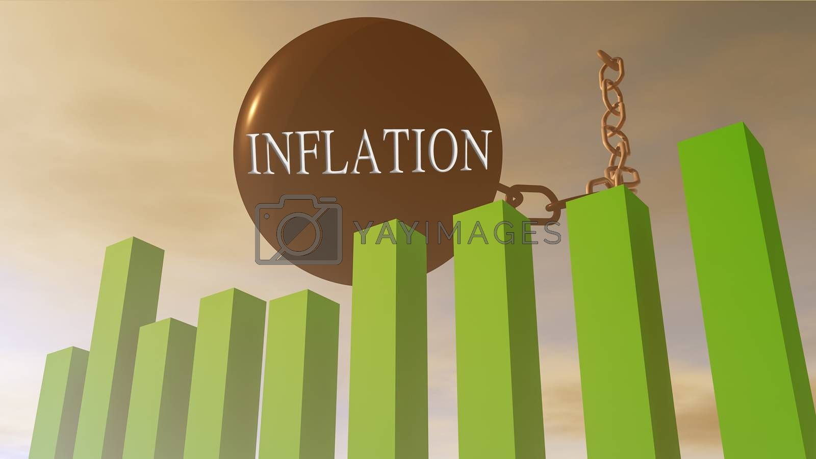 3D rendering illustration of financial stock market influenced by monetary inflation
