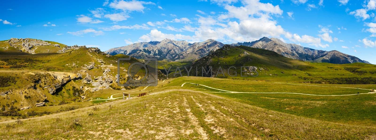 Vivid panoramic photo of mountains at Castle Hill. This area is well known to climbers and people liking bouldering. Kura Tawhiti - as it is called by native Maori is a place of spiritual importance as well. Canterbury, New Zealand