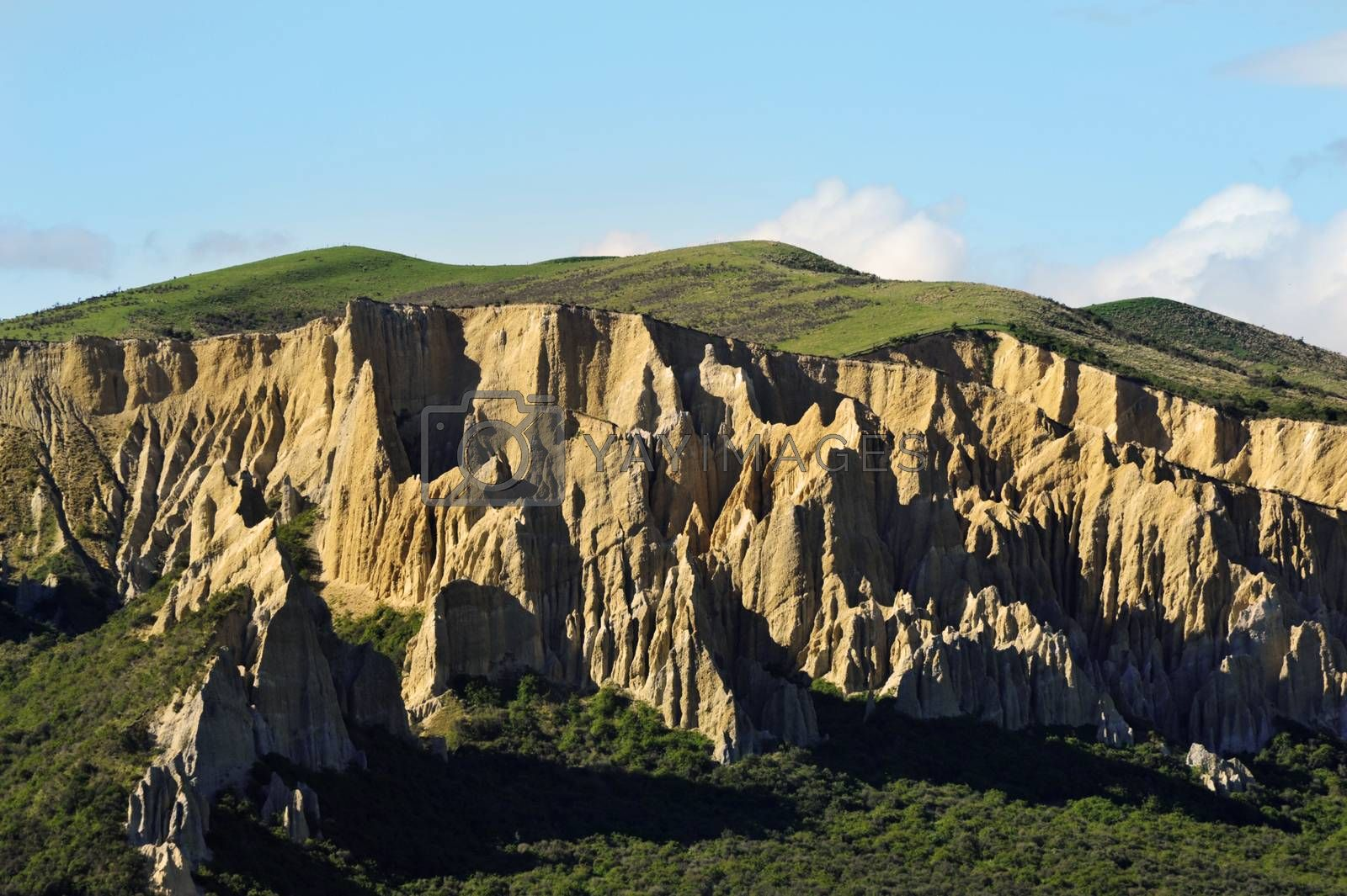 Beautiful teeth-like Clay cliffs of Omarama could be found on the South Island of New Zealand