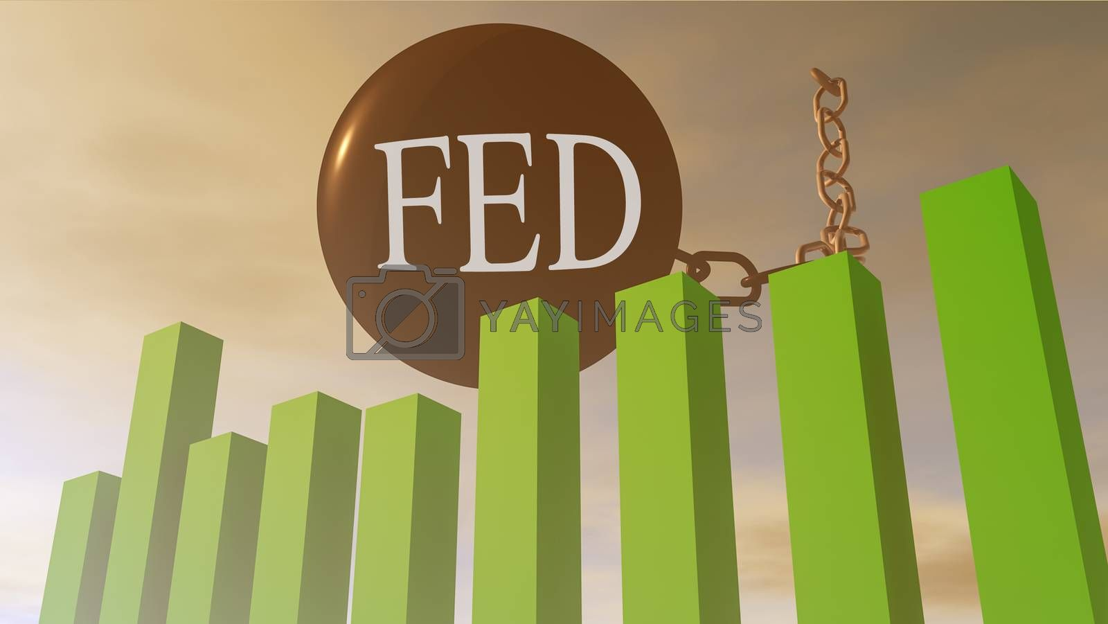 3D rendering illustration of Fed influence on the american financial stock markets
