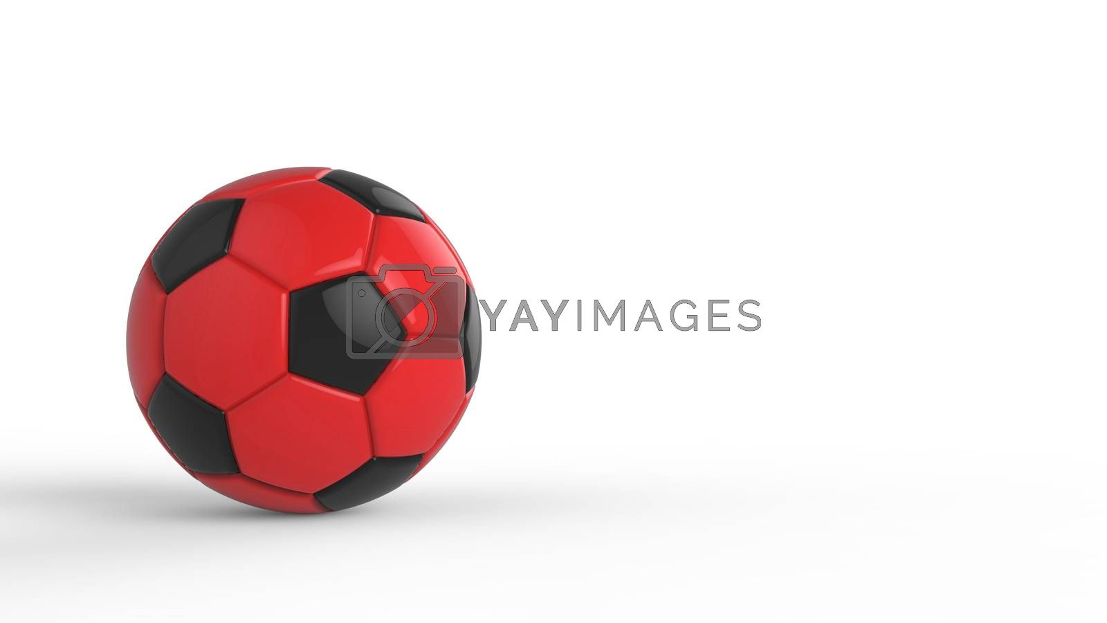 red soccer plastic leather metal fabric ball isolated on black background. Football 3d render illustration.