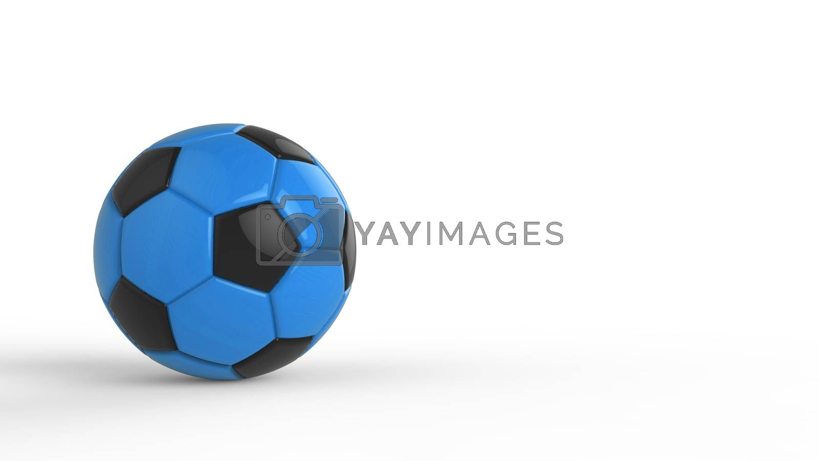 blue soccer plastic leather metal fabric ball isolated on black background. Football 3d render illustration.