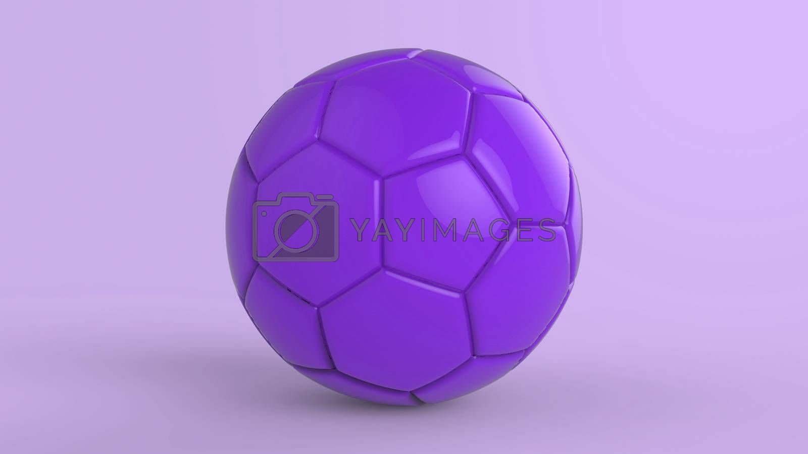 violet soccer plastic leather metal fabric ball isolated on black background. Football 3d render illustration.