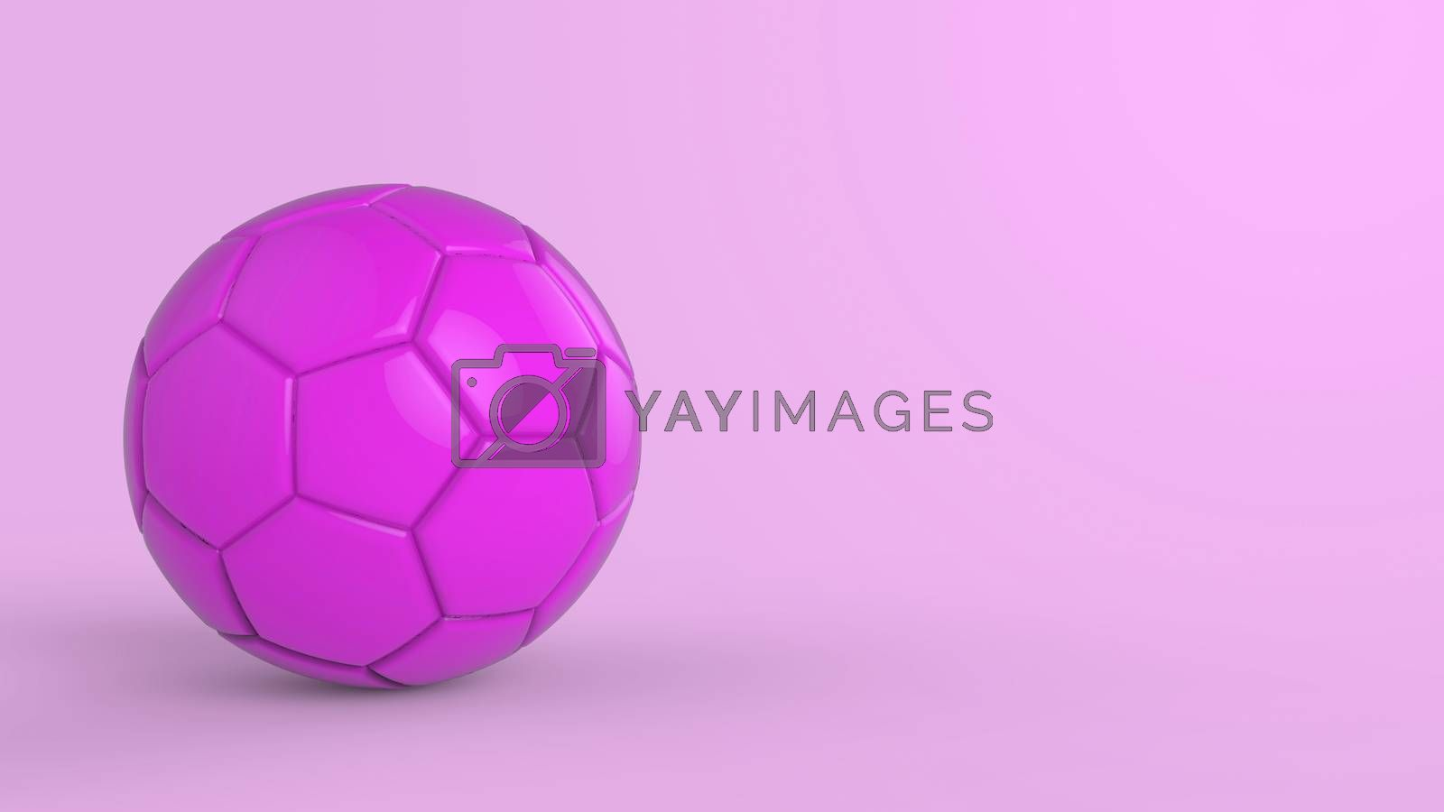 purple soccer plastic leather metal fabric ball isolated on black background. Football 3d render illustration.
