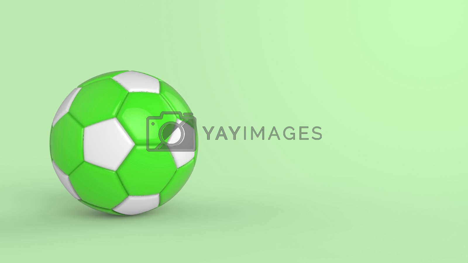 green soccer plastic leather metal fabric ball isolated on black background. Football 3d render illustration.