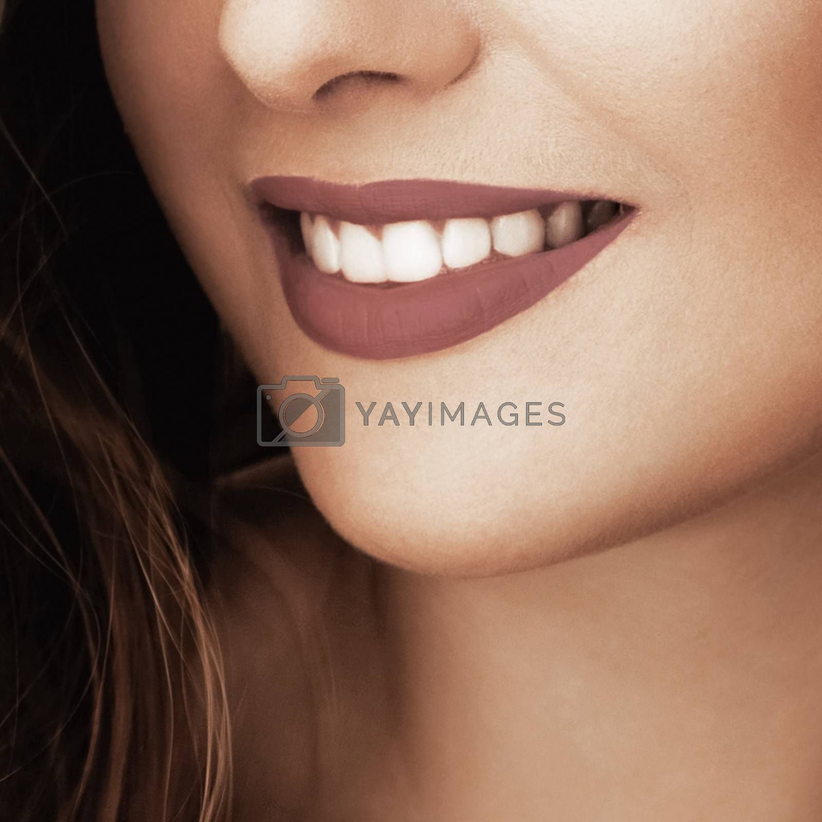 Happy healthy female smile with perfect natural white teeth, beauty face closeup of smiling young woman, bright lipstick makeup and clean skin for dental and healthcare brands