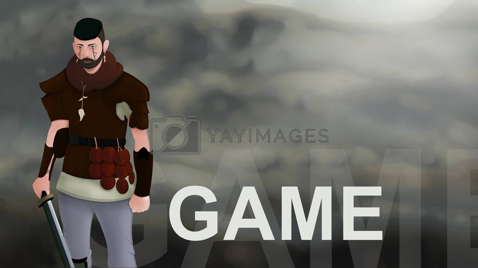 Game word text with Warrior armed with sword viking and leather armor on a gradient background. With copyspace for your text. Larp role play. Battle and medieval war. battlefield. Illustration 2d