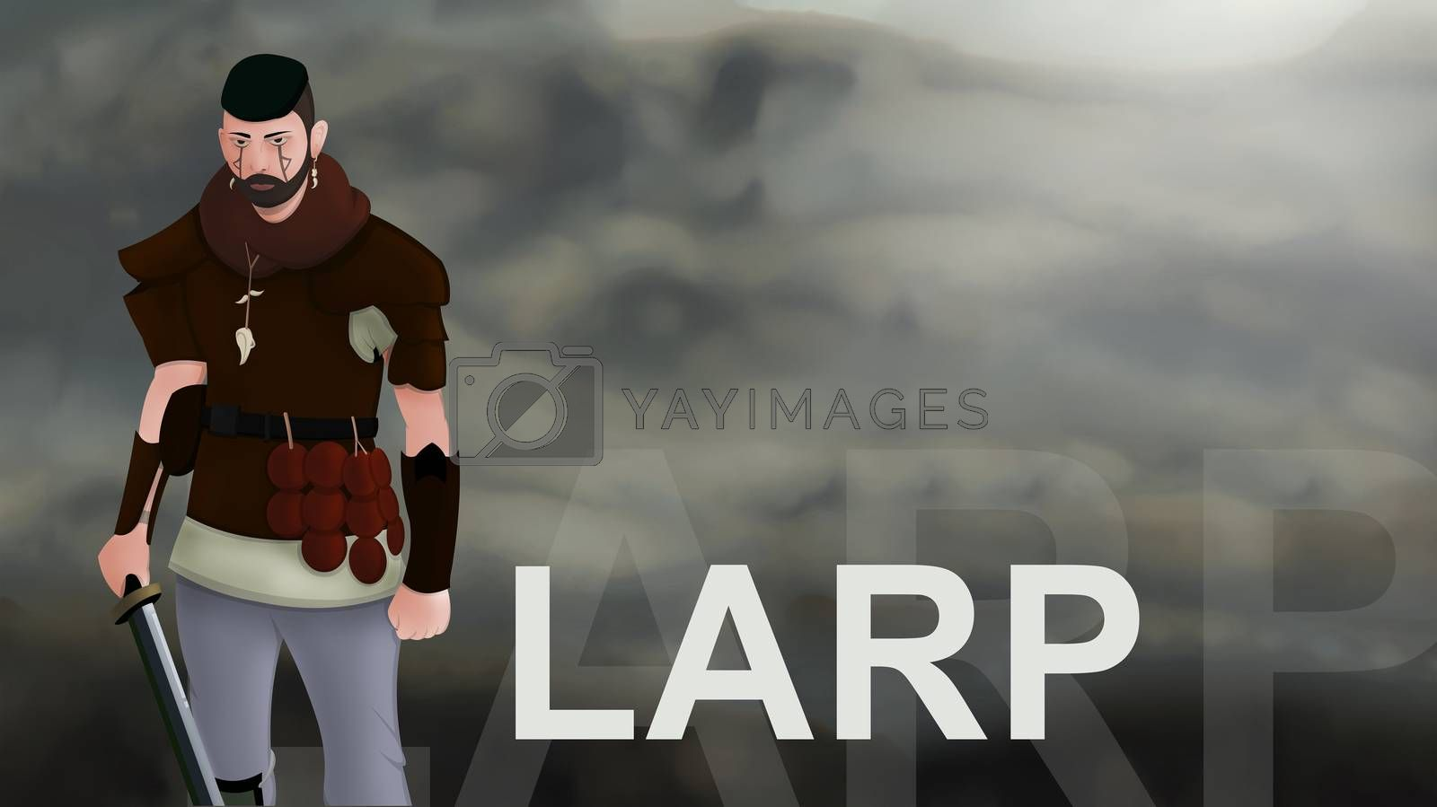 Larp word text with Warrior armed with sword viking and leather armor on a gradient background. With copyspace for your text. Larp role play. Battle and medieval war. battlefield. Illustration 2d