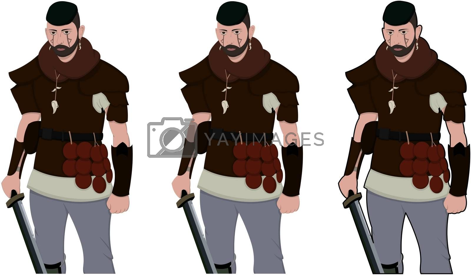 Warrior armed with sword viking and leather armor on a white background. With copyspace for your text. Larp role play. Battle and medieval war. battlefield. Illustration 2d