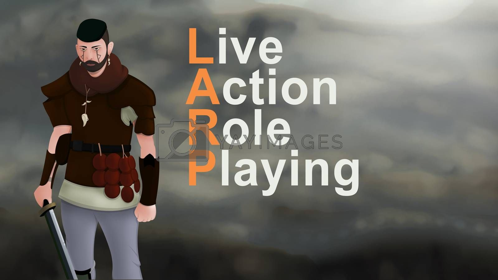 Larp game word text with Warrior armed with sword viking and leather armor on a gradient background. With copyspace for your text. Larp role play. Battle and medieval war. battlefield. Illustration 2d