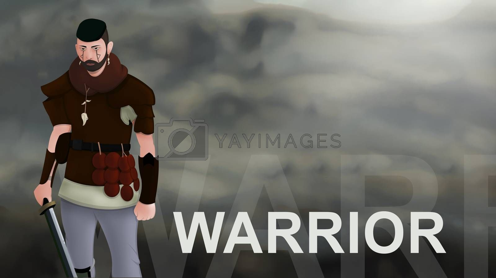 Warrior word text with Warrior armed with sword viking and leather armor on a gradient background. With copyspace for your text. Larp role play. Battle and medieval war. battlefield. Illustration 2d