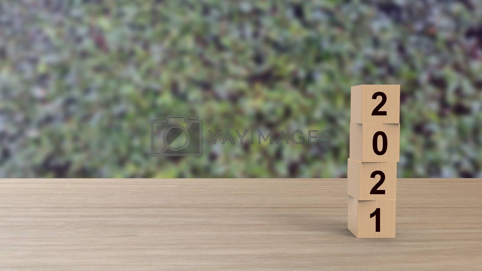 2021 numbers word Wooden cubes on table vertical over background leaves green HD, mock up, template, banner with copy space for text, Happy New Year design concept. Celebration greeting, 3d render