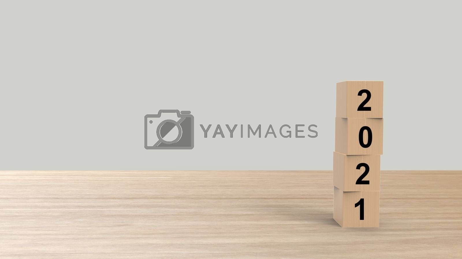 2021 numbers word Wooden cubes on table vertical over gray light background HD, mock up, template, banner with copy space for text, Happy New Year design concept. Celebration greeting, 3d render by Andreajk3