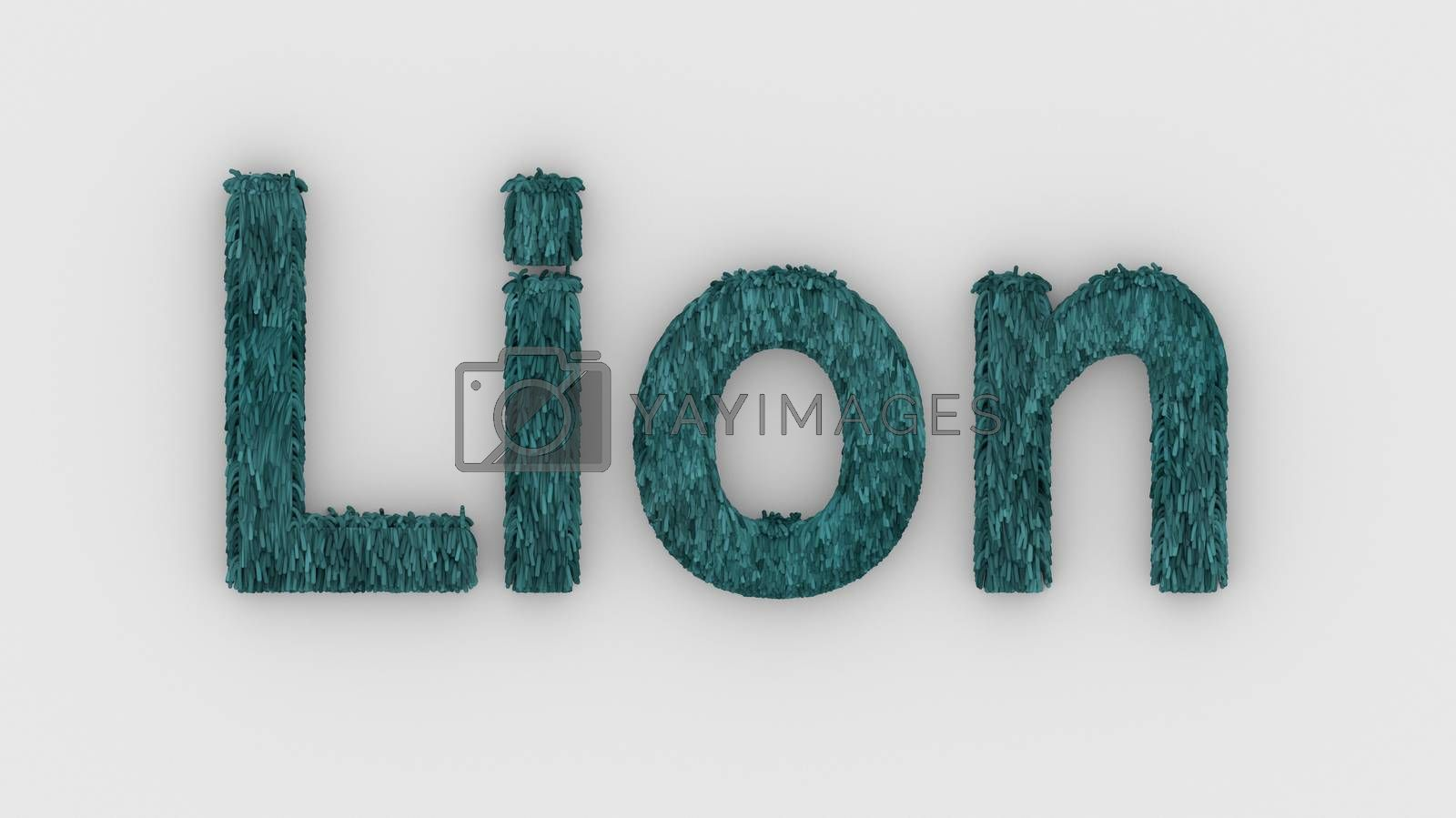Lion - 3d word azure on white background. render furry letters. design template. African lion and night in Africa. African savannah landscape, king of animals.