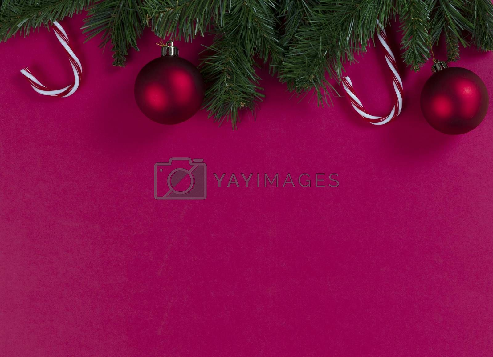 Merry Christmas and happy New Year on a red background with evergreen branches plus ball ornaments and candy canes