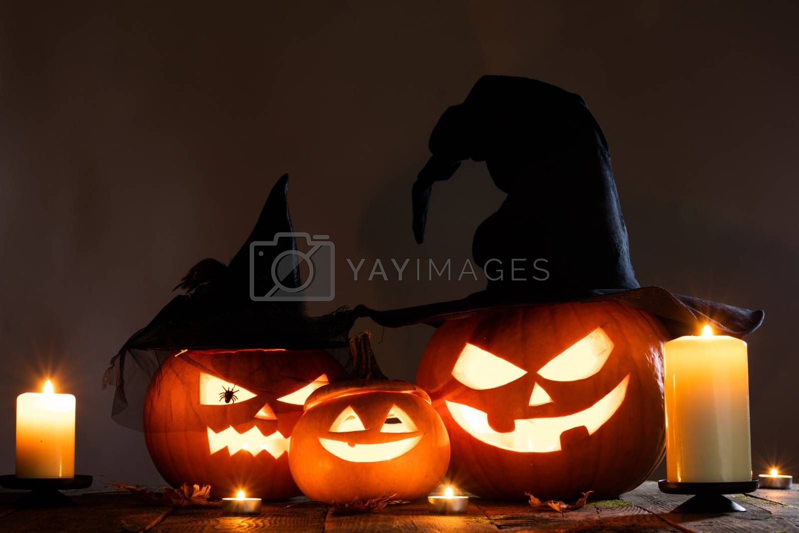 Jack O Lantern Halloween pumpkins by Yellowj