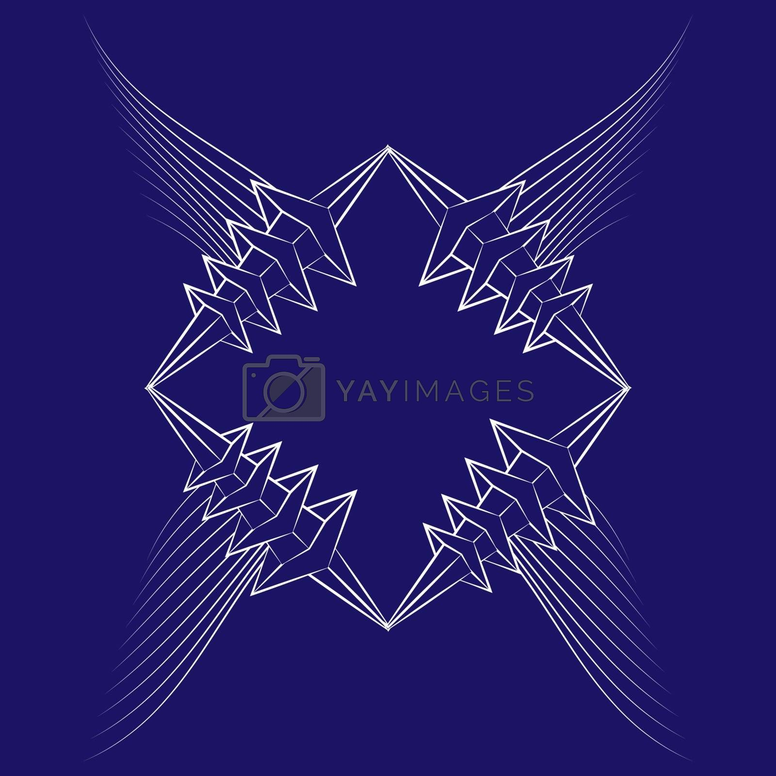 abstract icon with white wings and thorned frame by paranoido