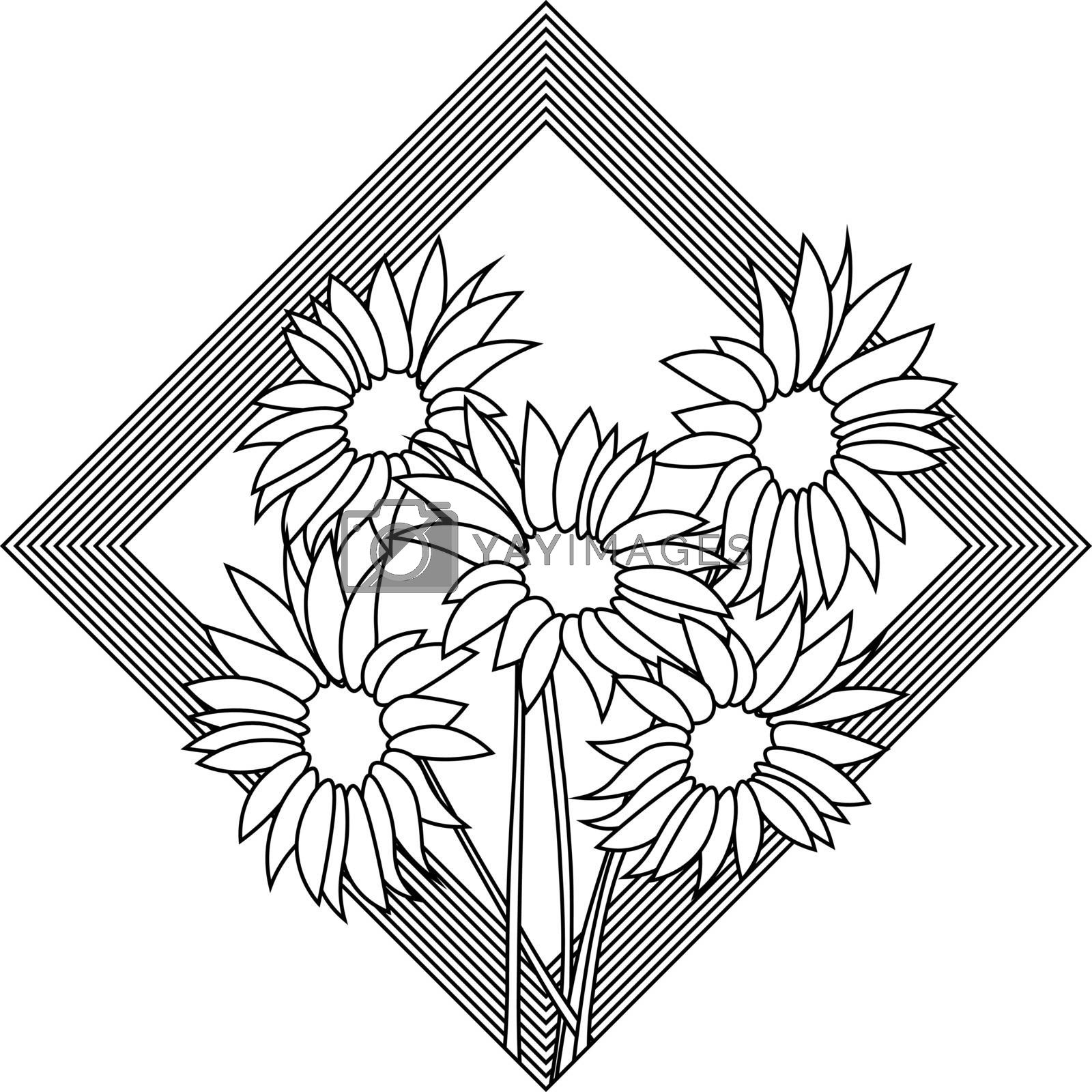 line art of sunflowers bouquet in geometric frame by paranoido