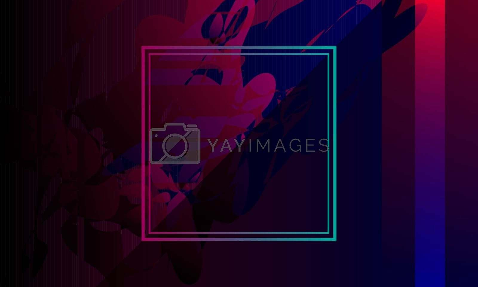 abstract purple background template with empty frame and brush strokes