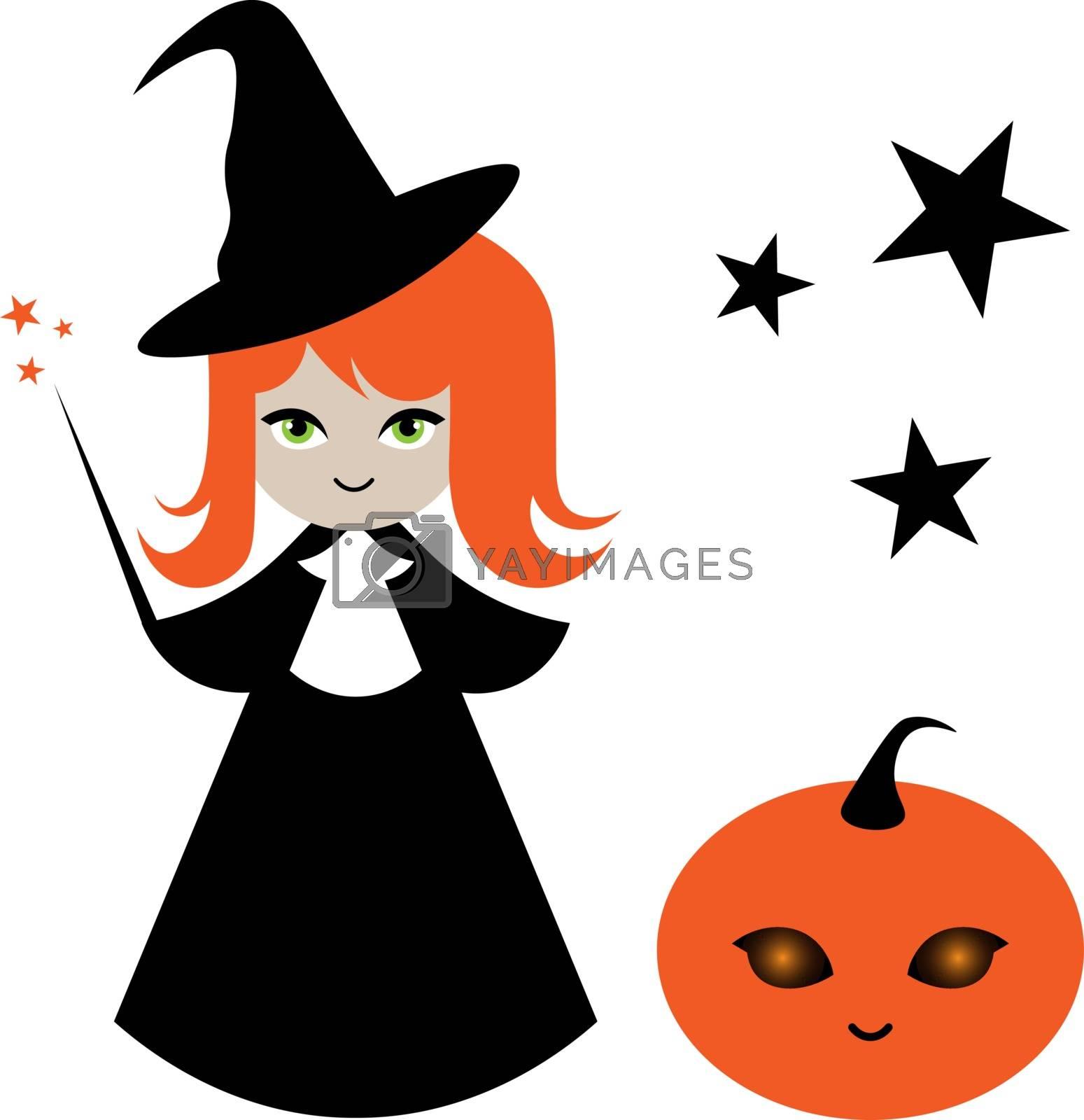 children illustration of cute little witch girl and halloween pumpkin