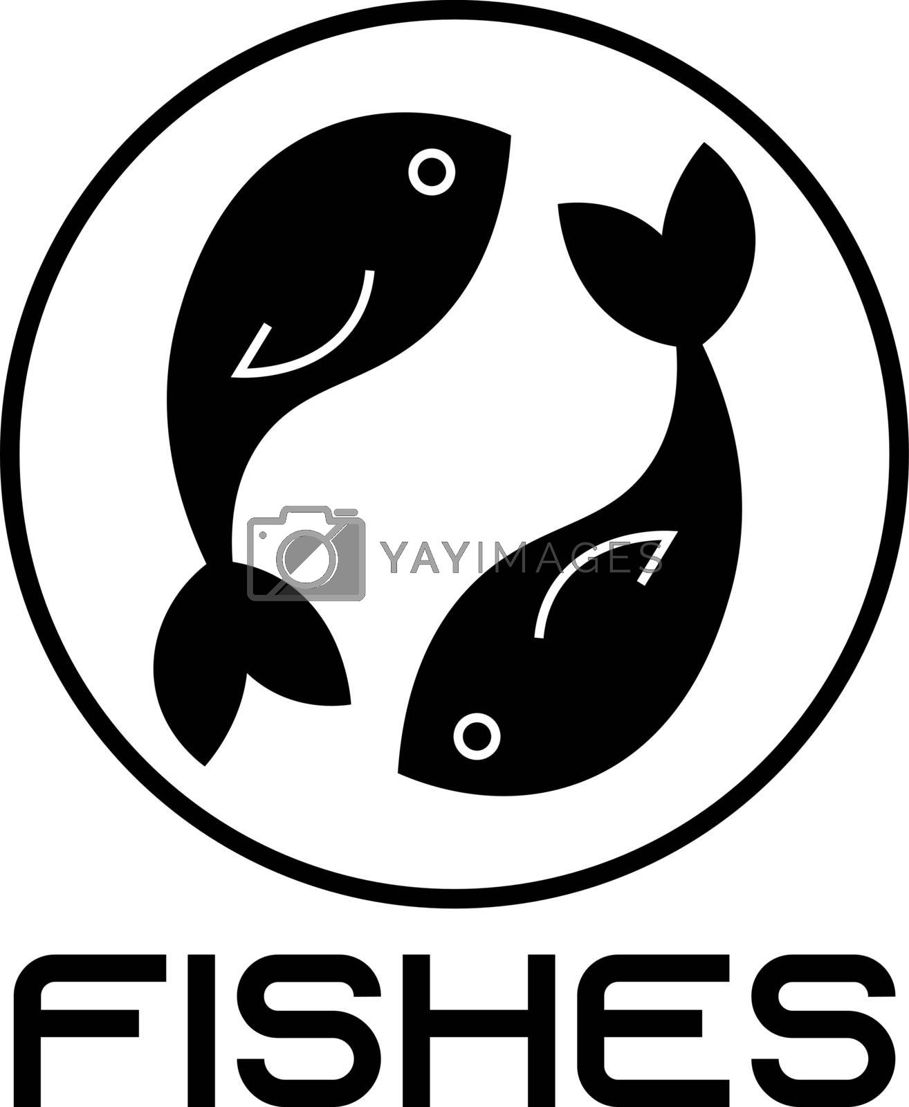 seafood icon with two simple black fishes by paranoido