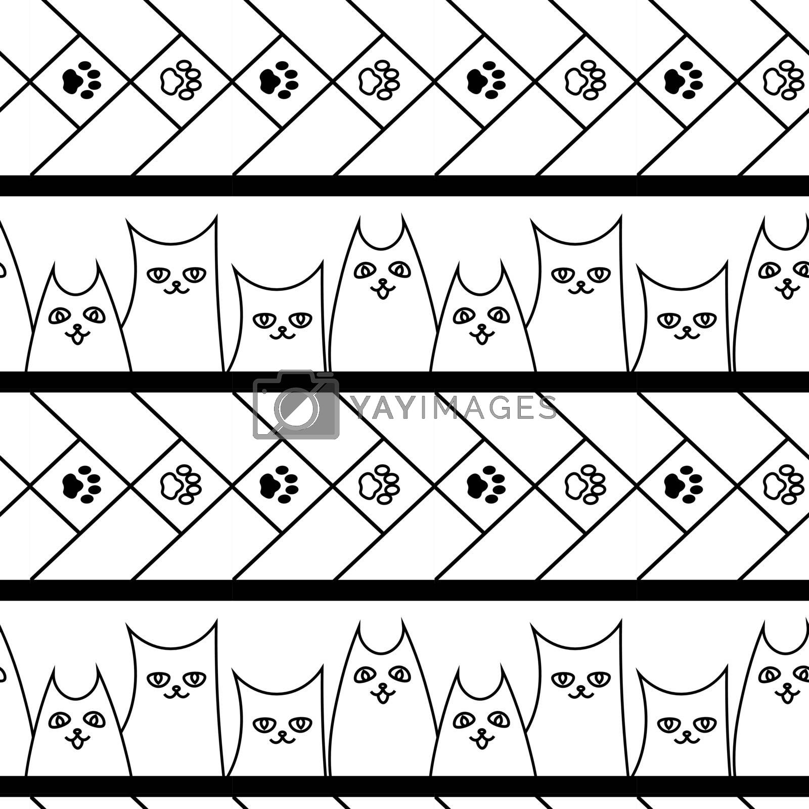 cute doodle seamless pattern with cats, dogs and paws by paranoido
