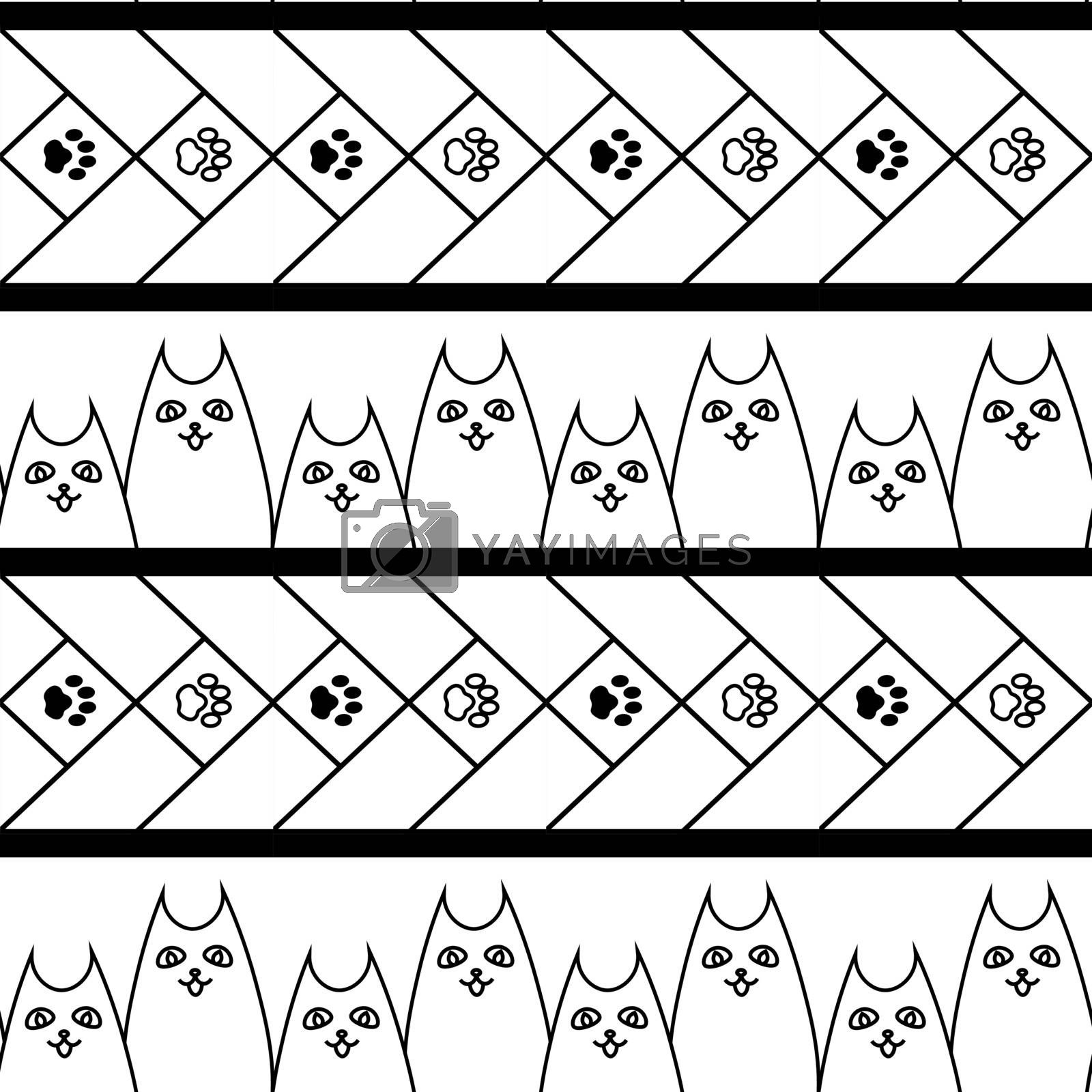cute doodle seamless pattern with dogs and paws by paranoido