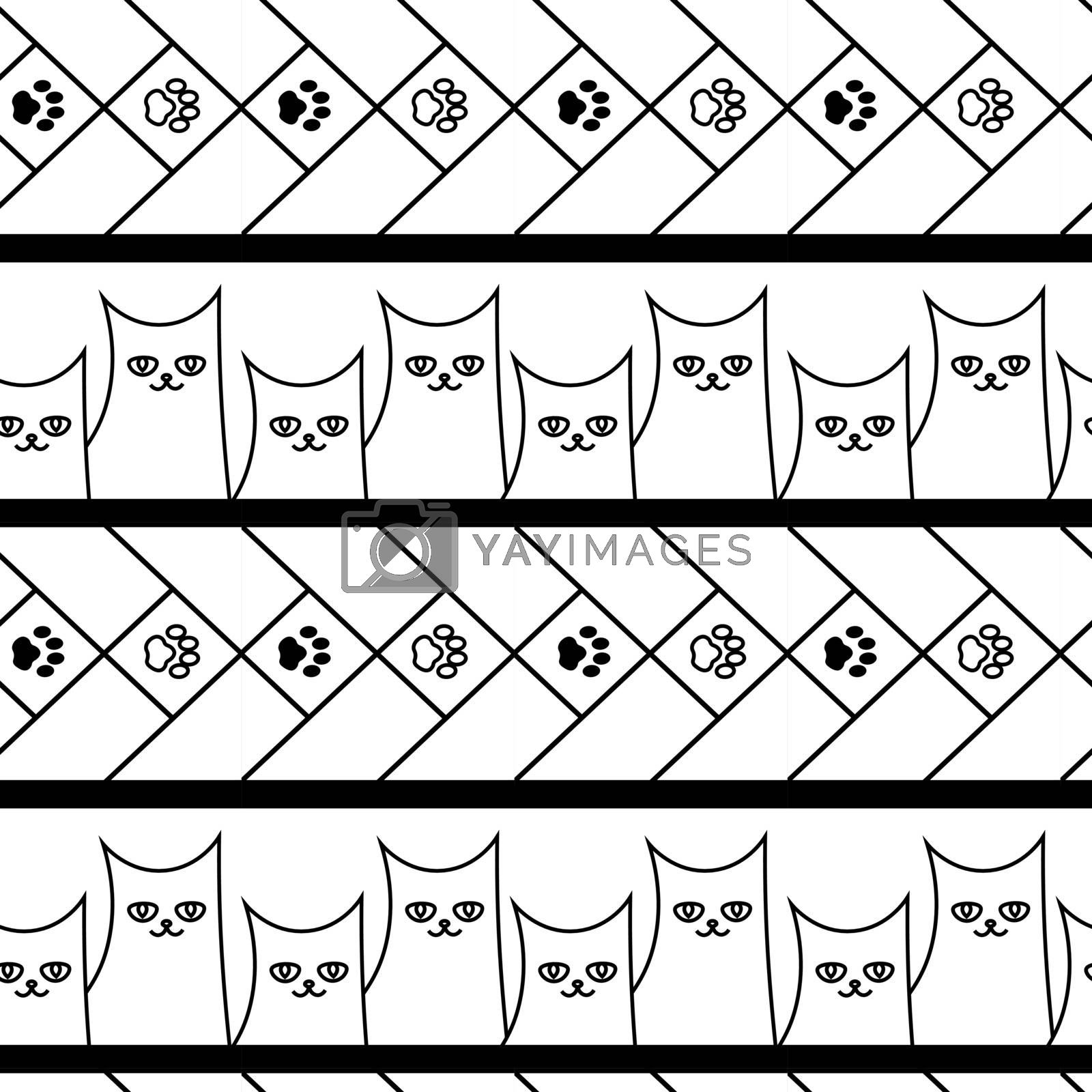 cute doodle seamless pattern with cats and paws by paranoido