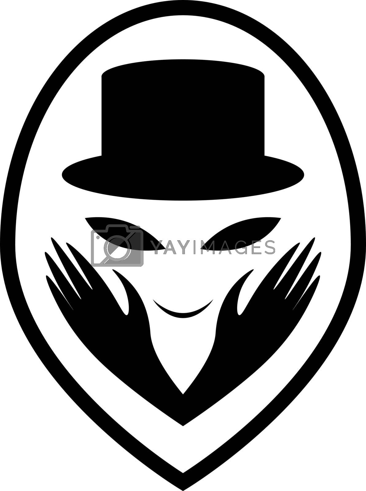 smiling alien face in black magician cylinder hat and gloves