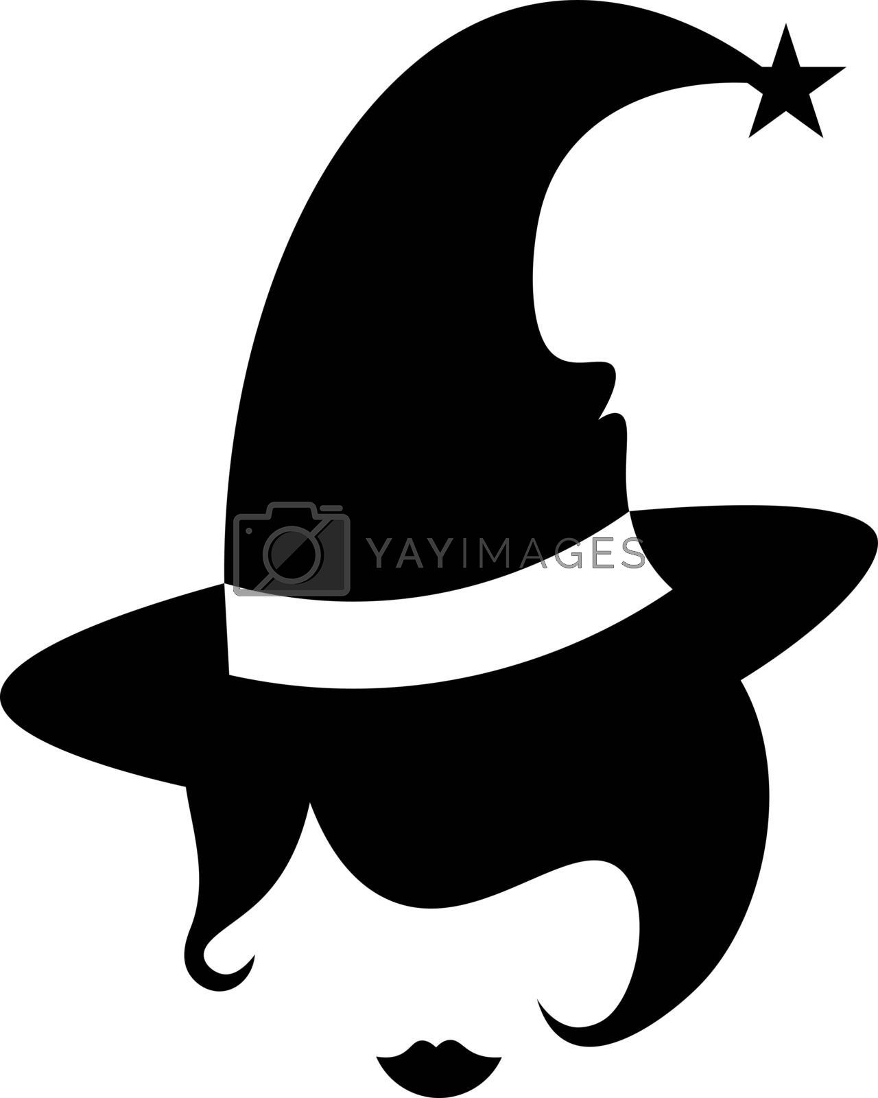 black an white stencil halloween illustration faceless witch head in hat