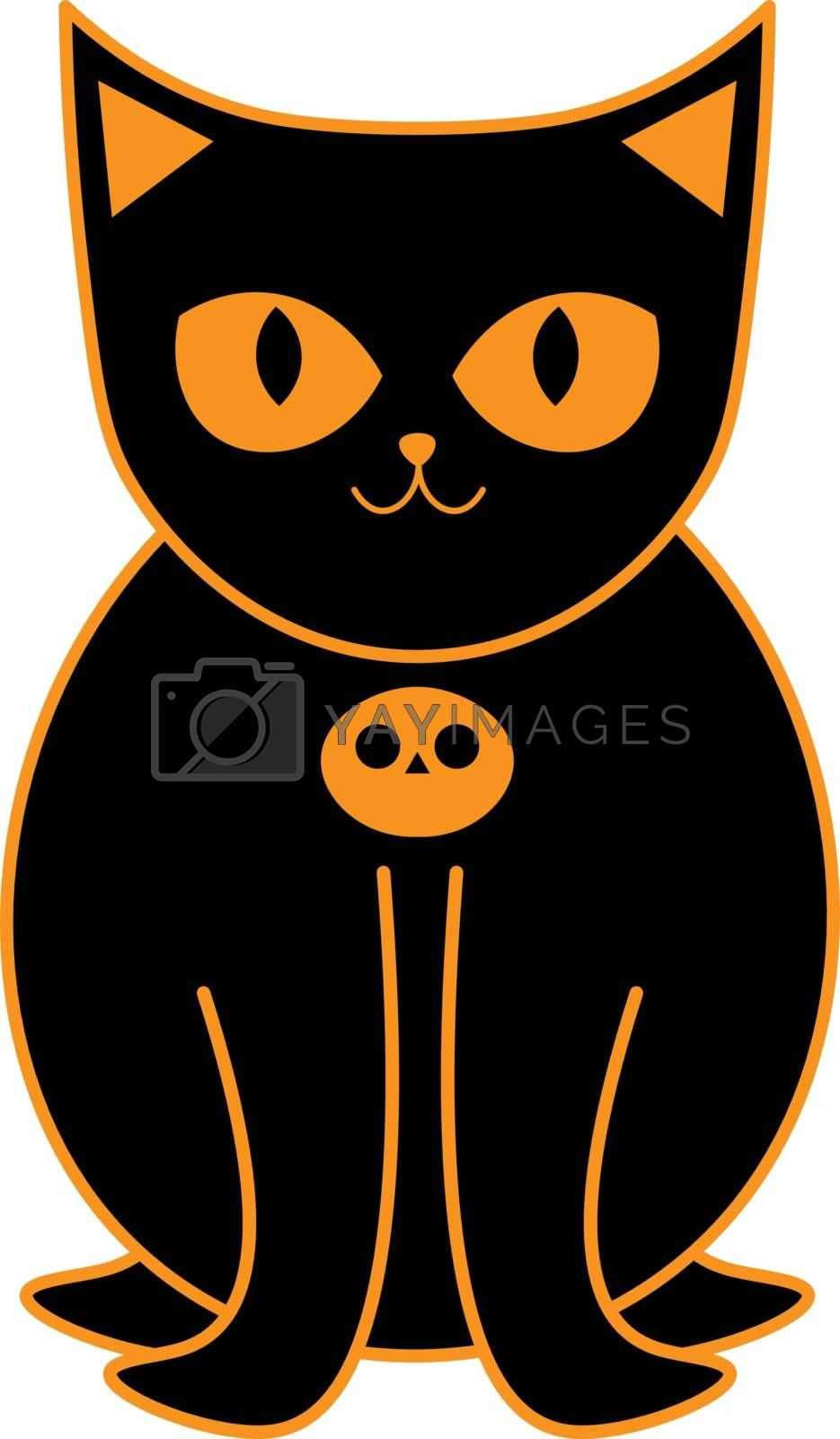 cute cartoon black cat with pumpkin collar by paranoido