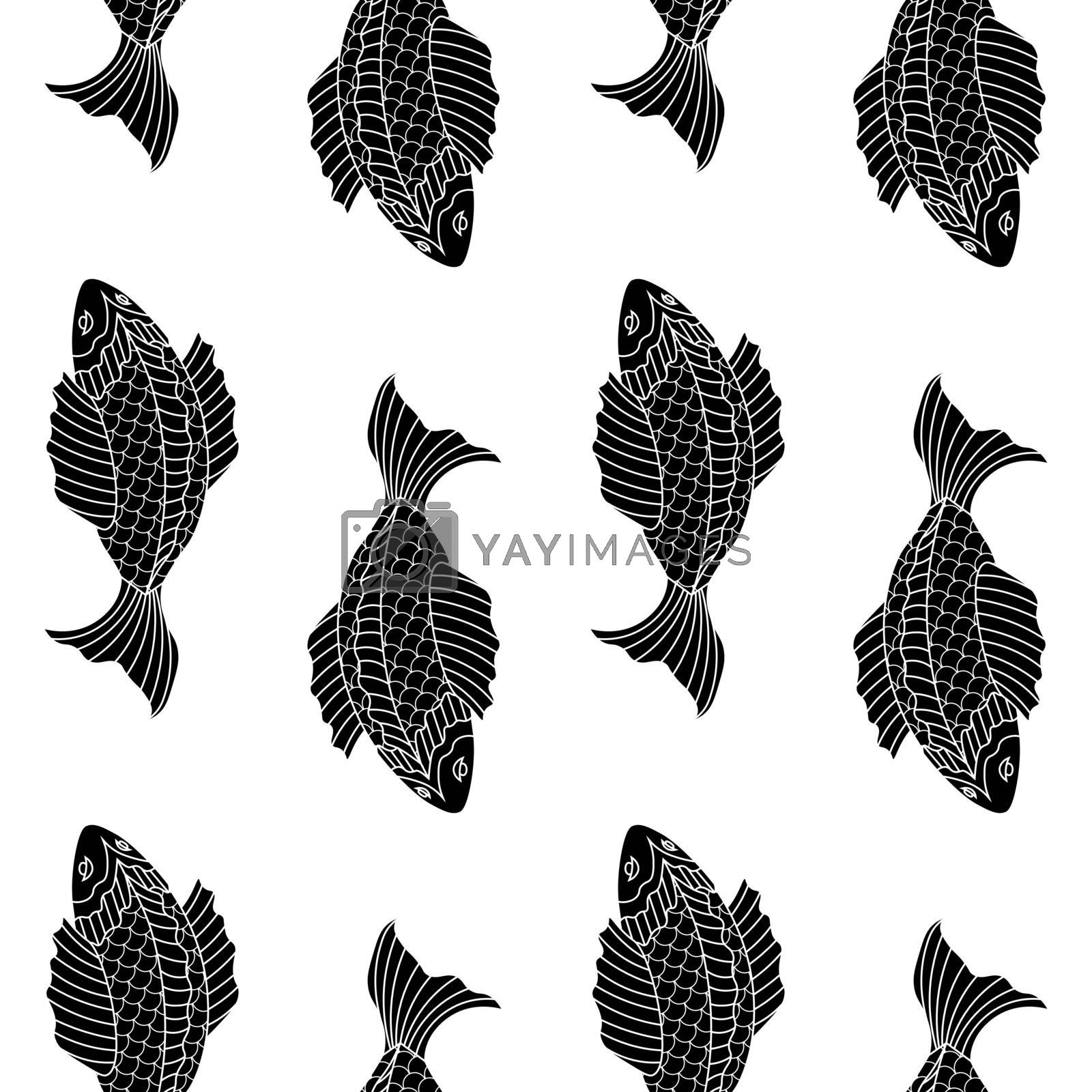 black and white seamless pattern with drawing fishes by paranoido