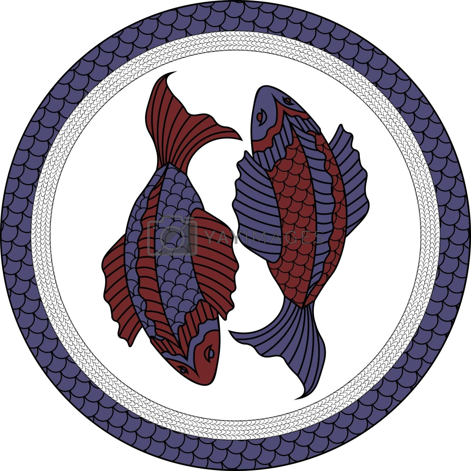 two red and blue fishes in asian style by paranoido