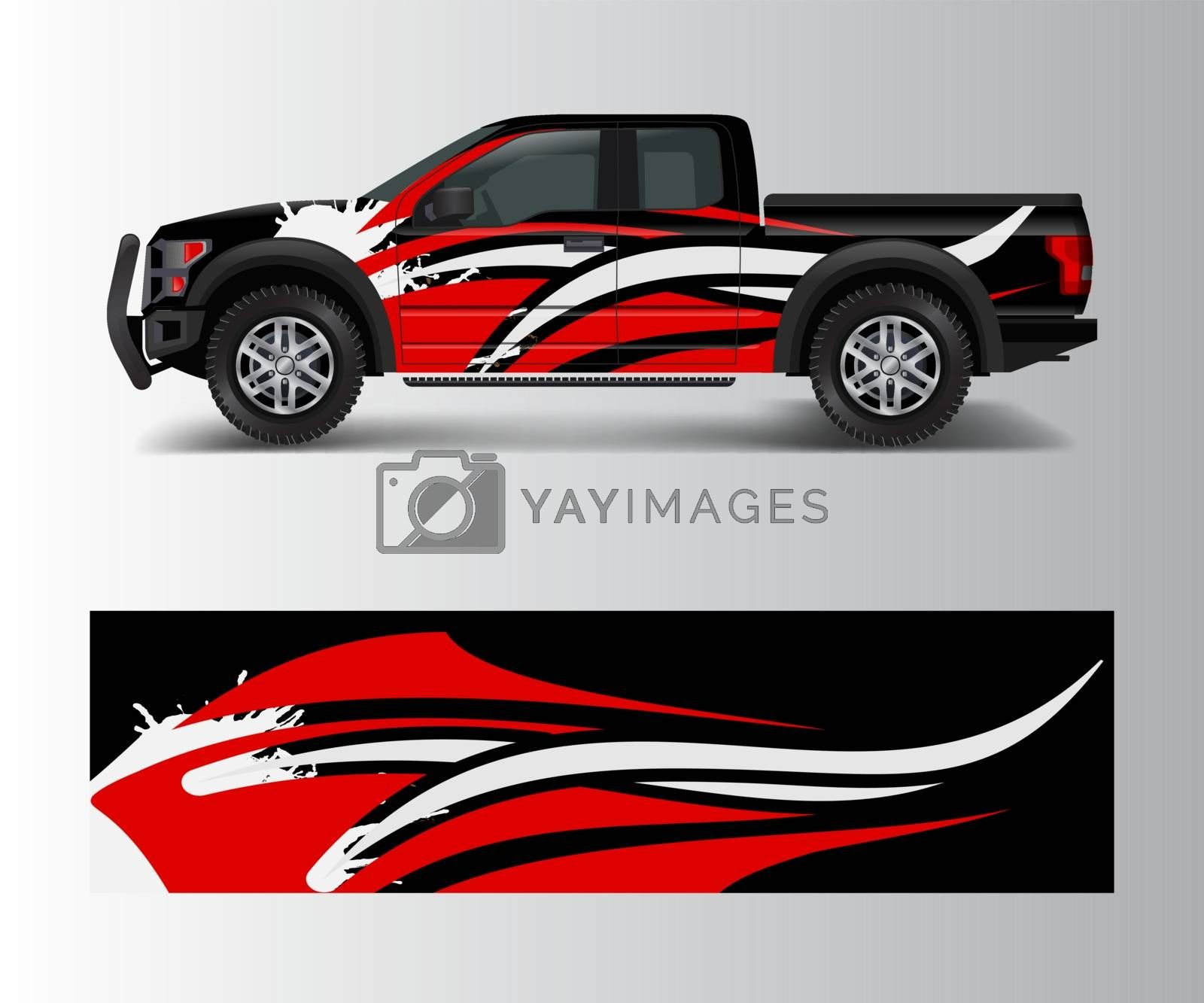 abstract Racing graphic background vector for offroad vehicle wrap design vector