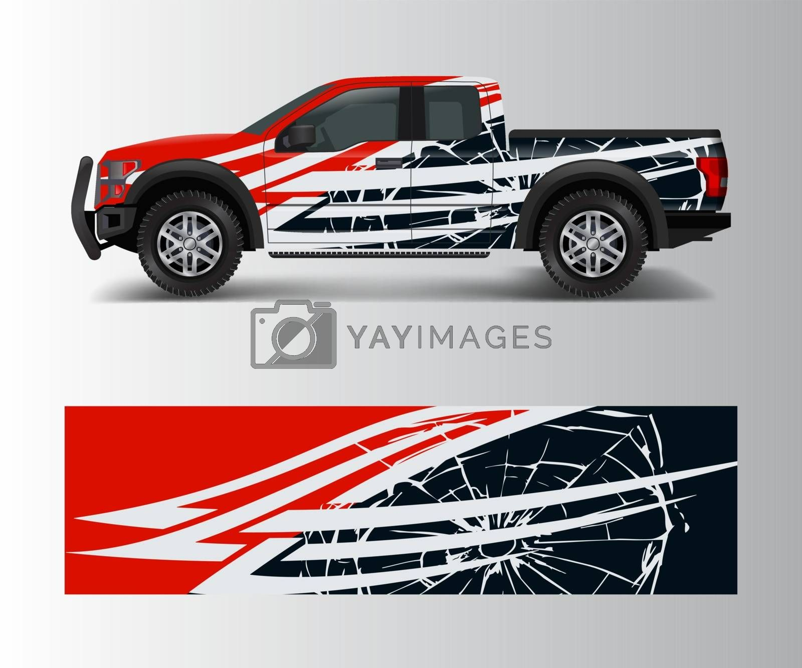 cargo van and car wrap vector, Truck decal designs, Graphic abstract stripe designs for offroad race, adventure and livery car