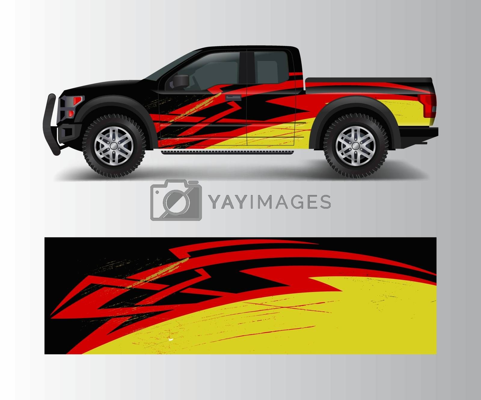 truck and cargo van wrap vector, Car decal wrap design. Graphic abstract stripe designs for vehicle, race, offroad, adventure and livery car