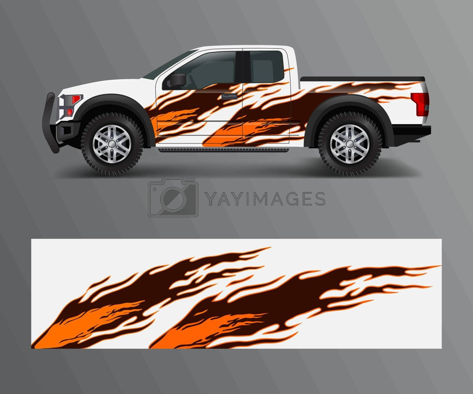 wrap graphic design vector for off road truck. Abstract sporty and adventure racing background. Full vector eps 10