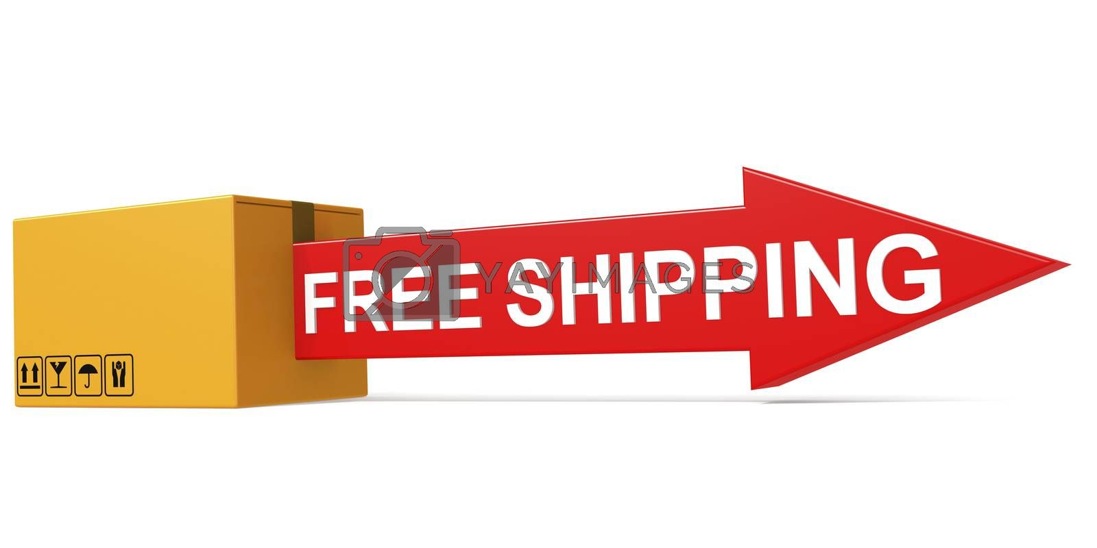 Free shipping text on the cardboard box isolated, 3D rendering