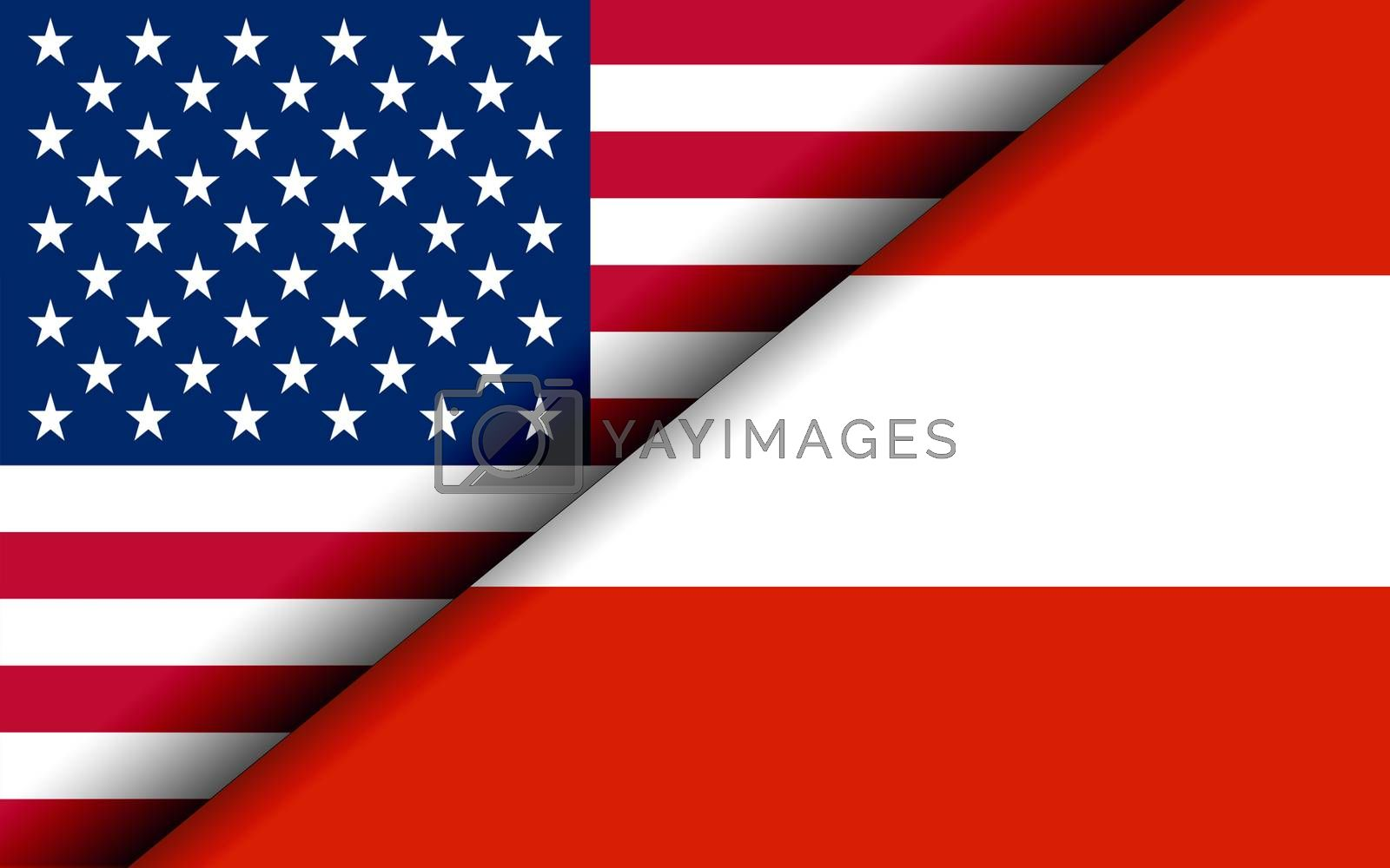 Flags of the USA and Austria divided diagonally. 3D rendering