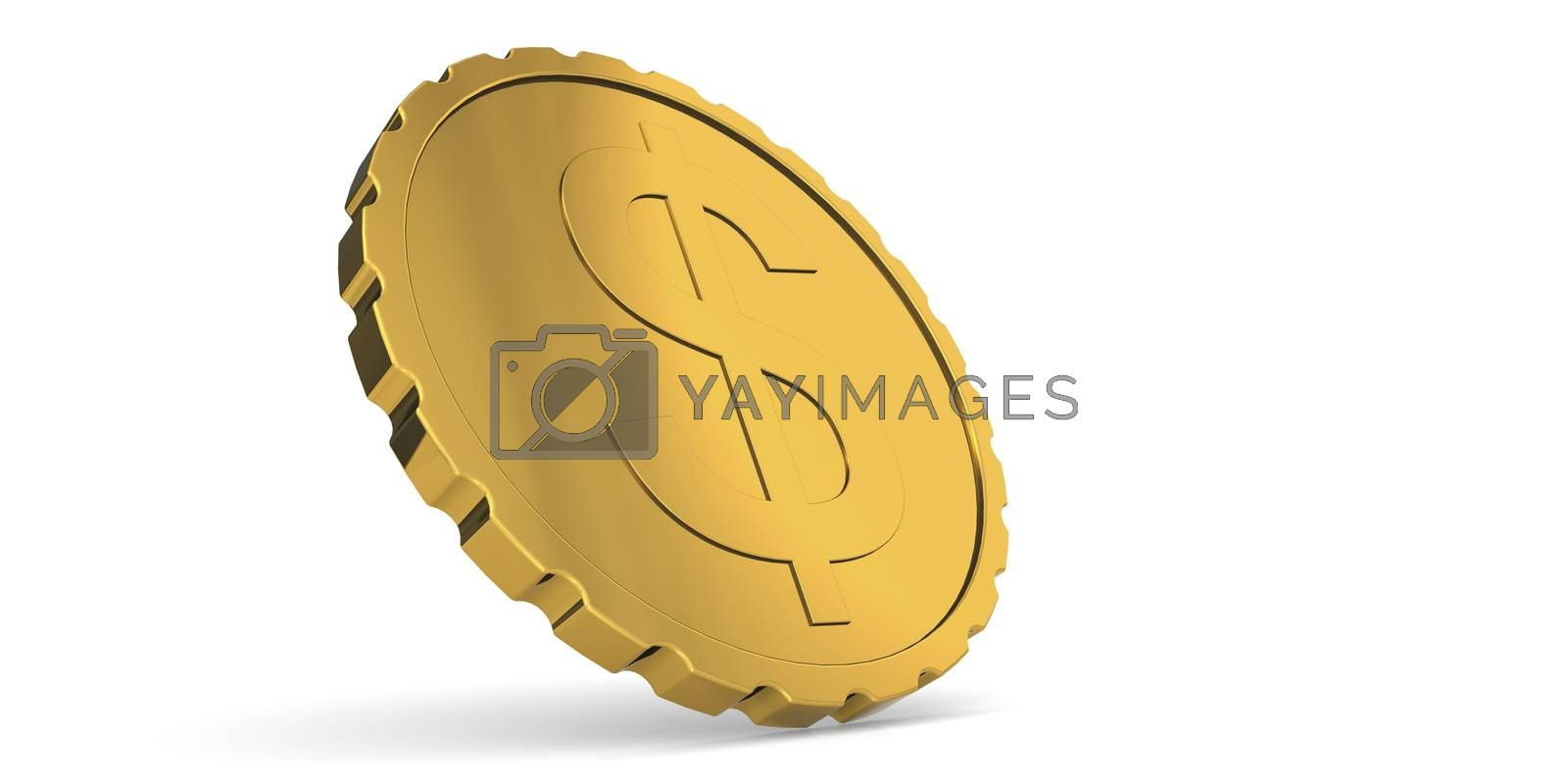 Golden shiny coin with dollar sign, 3d rendering