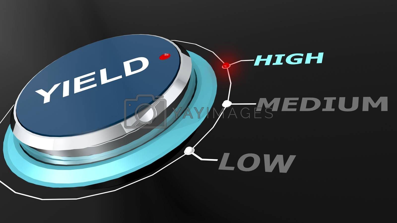 High yield return on the knob, 3d rendering