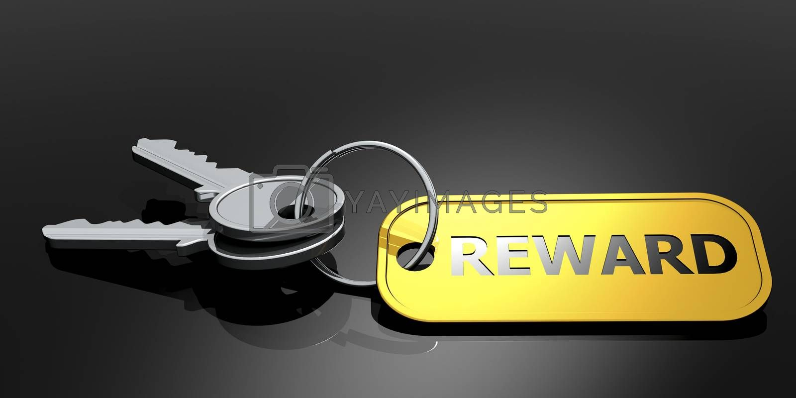 Reward label with keys isolated, 3D rendering