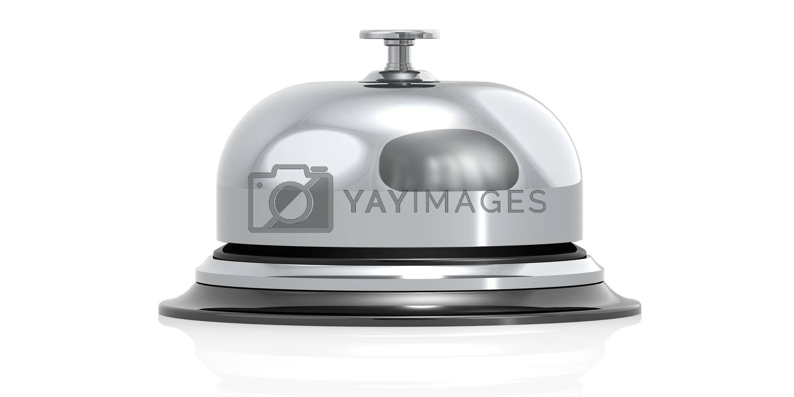 Silver bell isolated in white background, 3D rendering