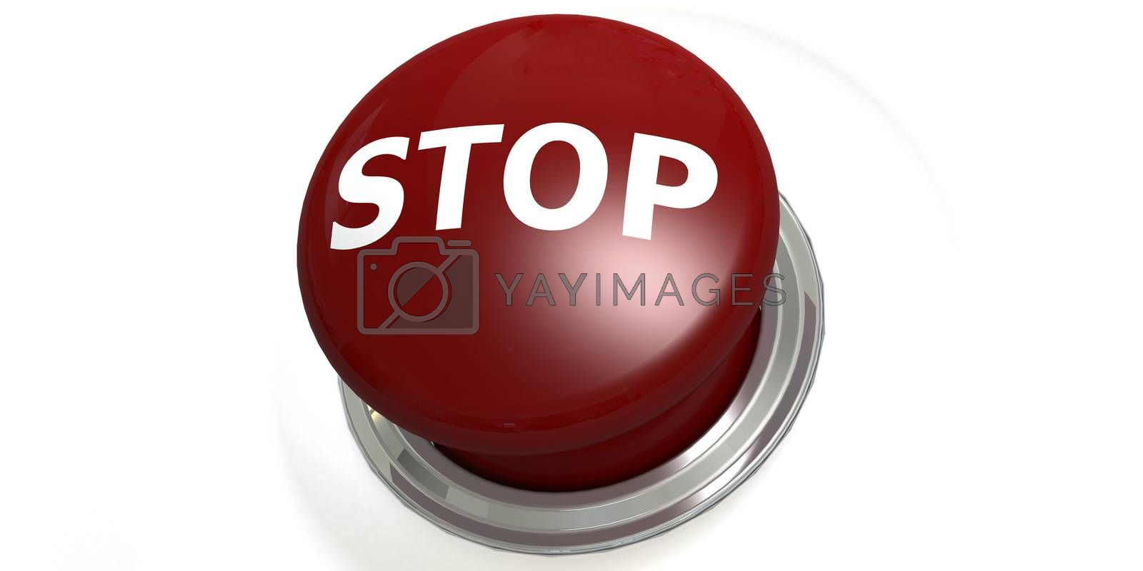 Stop button isolated with white background, 3D rendering