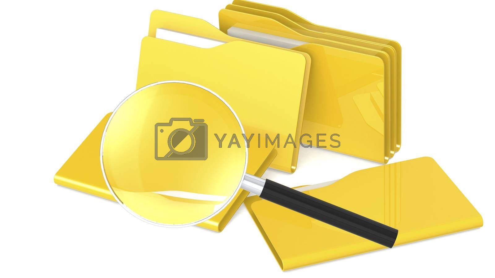 Yellow folder and magnifying glass, 3d rendering