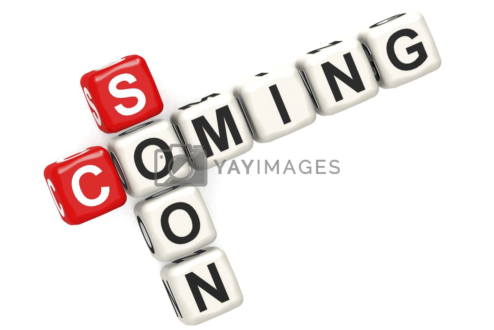 Coming soon cube crossword on white background, 3D rendering